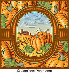 Retro pumpkin harvest in woodcut style. Vector illustration with clipping mask.