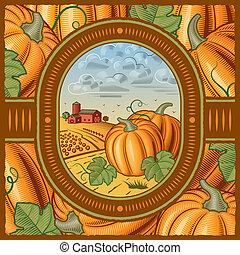 Pumpkin harvest - Retro pumpkin harvest in woodcut style....