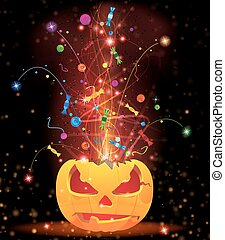 Pumpkin head and fireworks - Exploding Jack O'Lantern with...