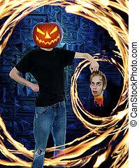 Pumpkin Head Halloween Horror