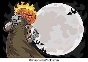 Pumpkin head halloween party invitation