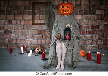 pumpkin head monster horror indoor