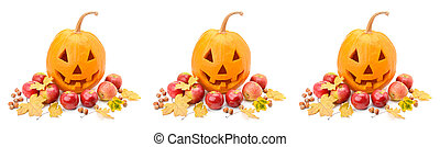 Pumpkin-head, nuts, apples and yellow leaves isolated on white background. Halloween is a fun holiday. Panoramic collage. Wide photo.
