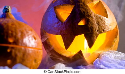 Pumpkin head ready to decorate a holiday hallovin. All Saints Day coming soon, and the night will be fun.