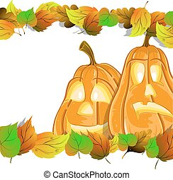 Pumpkin heads with leaves