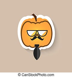 Pumpkin hipster big glasses and tie flat Vector icon