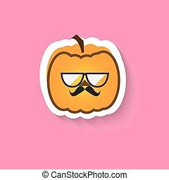 Pumpkin hipster big glasses flat Vector icon