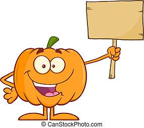 Happy Halloween Pumpkin Cartoon Mascot Character Holding A Wooden Board