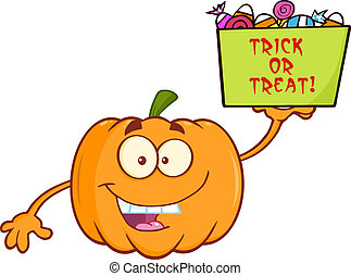 Pumpkin Holds A Box With Candy