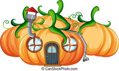 Pumpkin house on white background