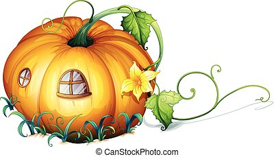 Pumpkin house with windows