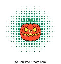 Pumpkin icon in comics style