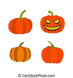 Pumpkin icon set, flat style