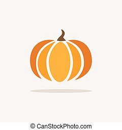 Pumpkin. Icon with shadow on a beige background. Fall vector illustration