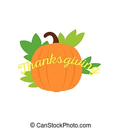 Pumpkin icon with thanksgiving text