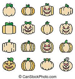 Pumpkin icons flat