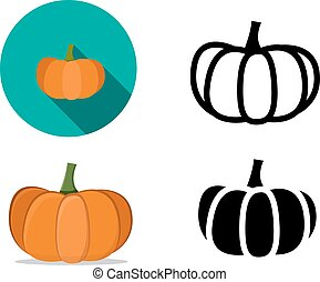 Pumpkin icons in flat style, vector
