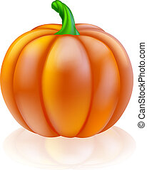 Pumpkin illustration - An illustration of a big shiny orange...