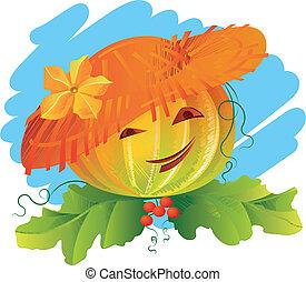 Pumpkin in a straw hat