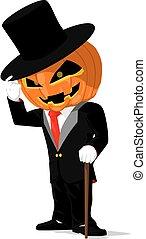 Pumpkin in black tuxedo