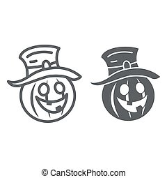 Pumpkin in hat line and solid icon, Halloween concept, Creepy pumpkin sign on white background, funny scared face in hat icon in outline style for mobile concept and web design. Vector graphics.