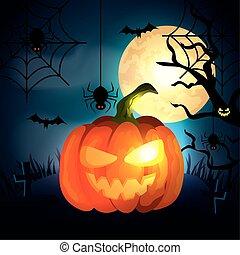 pumpkin in the dark night halloween scene