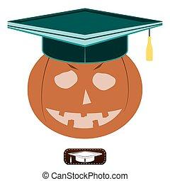 Pumpkin in the hat of the graduate, Halloween