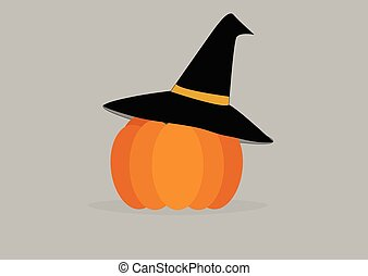 pumpkin in witch hat on a light background