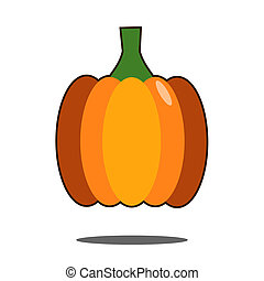 Pumpkin Isolated on White. Flat Design Style.