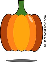 Pumpkin Isolated on White. Flat Design Style. Vector illustration