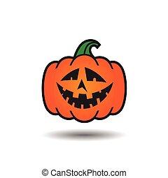 Pumpkin Jack o lantern smile icon. Vector illustration