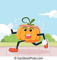 pumpkin jogging illustration design