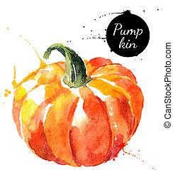 pumpkin., kéz, húzott, vízfestmény festmény, white, háttér.