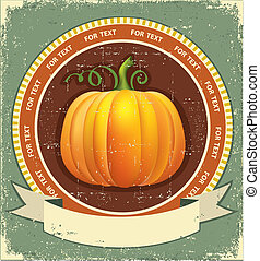 Pumpkin label with scroll for text. Vector vintage icon on old paper texture