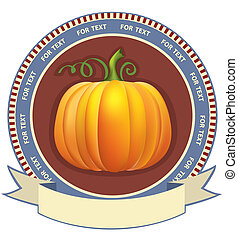 Pumpkin label with scroll for text.Vector retro image