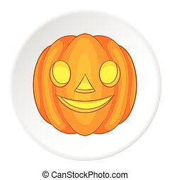 Pumpkin lantern icon, cartoon style
