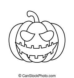 Pumpkin lantern icon, outline style