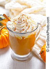 Pumpkin latte on white backfround - Pumpkin latte with ...