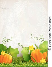 Big orange pumpkin, leaves, grass against the background of a plaster wall. Thanksgiving vector card.