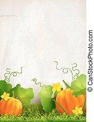 Pumpkin Leaves Grass - Big orange pumpkin, leaves, grass...