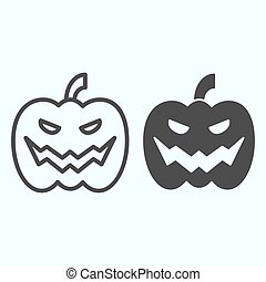 Pumpkin line and solid icon. Big scary face in vegatable product for party celebration. Halloween vector design concept, outline style pictogram on white background, use for web and app. Eps 10.