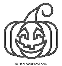 Pumpkin line icon. Vegetable plant with ghost face. Halloween party vector design concept, outline style pictogram on white background.