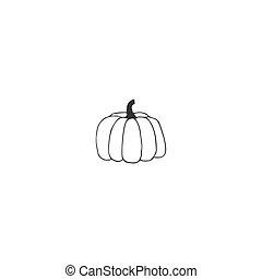 pumpkin., main, illustration., vecteur, dessiné, logo, élément, icône, isolé