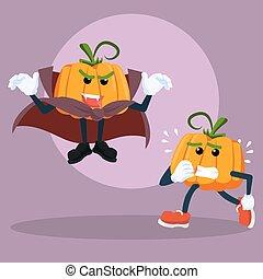 pumpkin man afraid vampire pumpkin