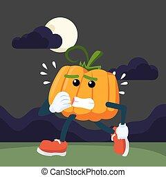 pumpkin man afraid walking at night