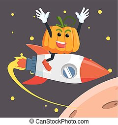 pumpkin man flying with rocket