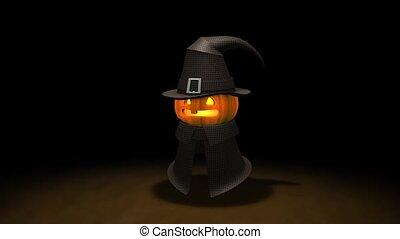 Pumpkin man - Halloween pumpkin animation, alpha matte...