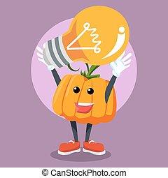 pumpkin man holding giant light