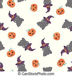 pumpkin., modèle, chat, halloween, seamless, vecteur