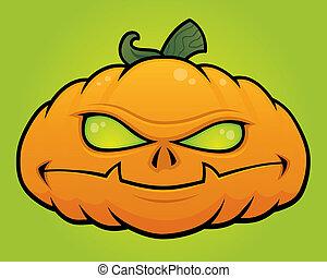 Pumpkin Monster - Spooky vector Halloween pumpkin head...